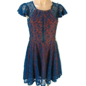 Pins Needles Teal Lace Orange Lined Fit Flare Dres